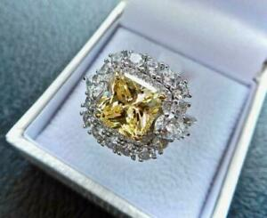 Solid 925 Silver Fancy Vivid 15 CT Yellow Citrine Gemstone Engagement Women Ring