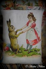 Easter eggs Spring Vintage antique Rabbit bunny dancing girl apron primitive