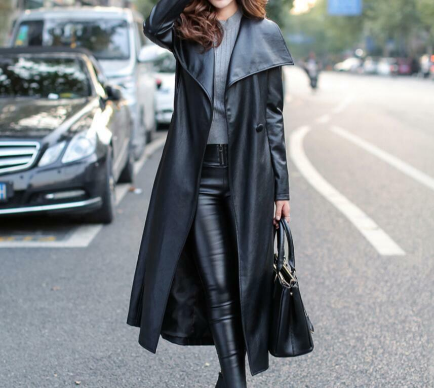 Womens Real Leather Motorcycle fwuh Long Parka Slim Trench Turn Down Collar Coat