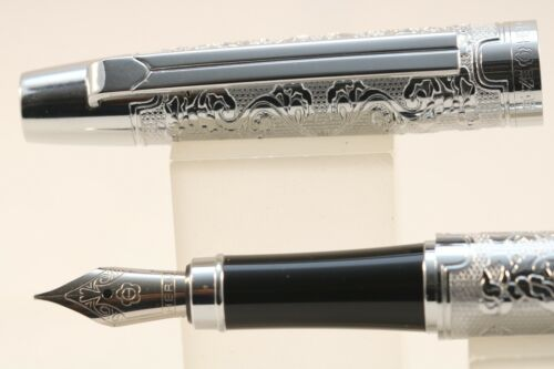 103 Heavy Silver Plated Floral Fine Fountain Pen New Luxury Hero No