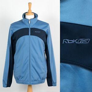 Dettagli su Da Uomo Retrò Vintage 00's anni'90 Reebok Blu Tuta da ginnastica TOP giacca Wavey Andiam Y2K L mostra il titolo originale