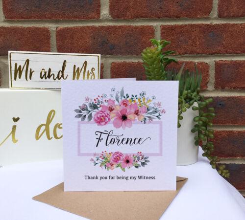 Personnalisé Rustique Mariage Rose Floral Cadre Demoiselle D/'Honneur Fleur Fille Carte 6x6in