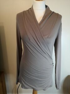 The-White-Company-taupe-brown-stretch-long-sleeve-jersey-wrap-top-medium-uk10