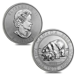 Lot of 2 - 2015 1.5 oz Canadian Silver Polar Bear and Cub $8 Coin .9999 Fine BU