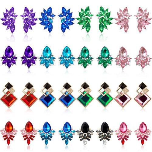 Fashion Wings Crystal Rhinestone Drop Dangle Stud Earrings Women Wedding Jewelry