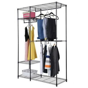 Closet-Organizer-Wardrobe-Shelves-System-Kit-Clothes-Storage-Metal-Rack-Storage