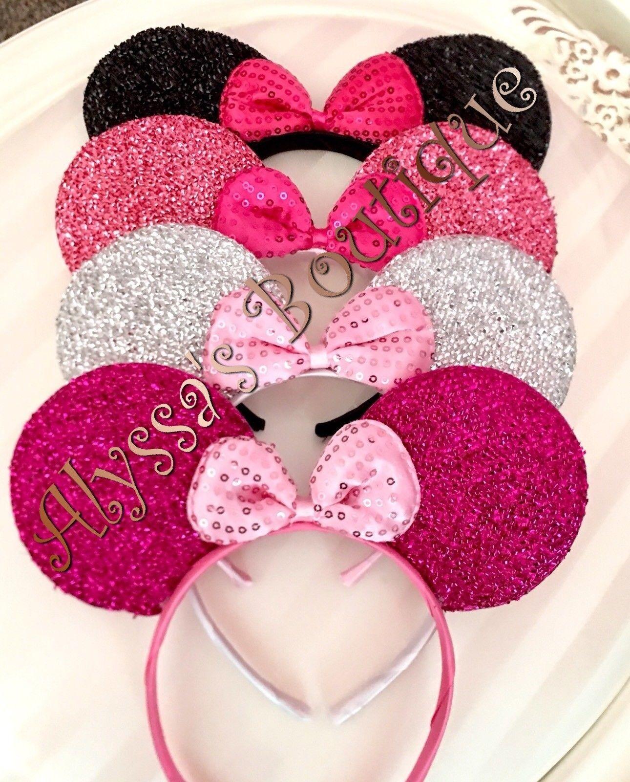 *4* Minnie Mouse Ears Headband Shiny Black Pink Silver Fuchsia Sequin Bow Mickey