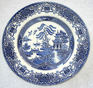 Image Is Loading Vintage English Ironstone Pottery Dinner Plates Old Willow