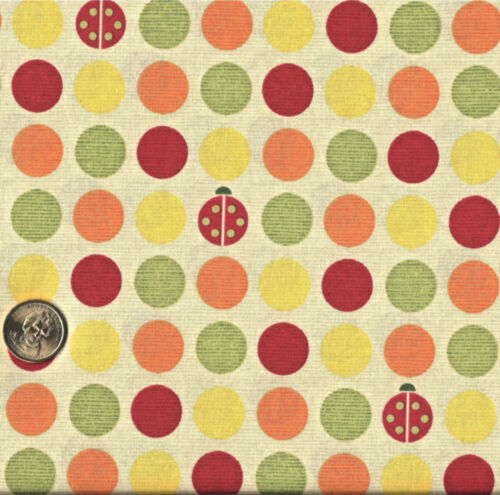 Ladybugs and Polka-Dots on Tan Stripe Cotton Fabric  BTY