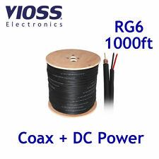 1000ft Siamese Rg6 Coaxial + Power Black Cable Reel Coax CCTV Wire RG-6 1000 ft