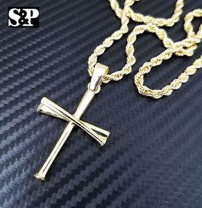 Unisex-Fashion-Baseball-Team-Triple-Bat-Cross-Pendant-w-24-034-Rope-Chain-Necklace