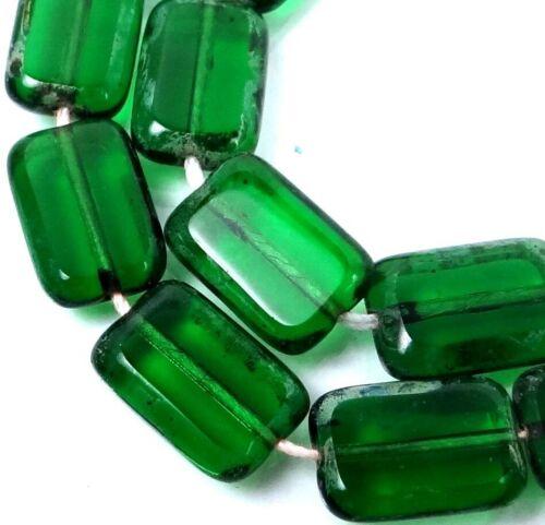12x8mm Czech Glass Rectangle Beads Green Emerald Picasso 12