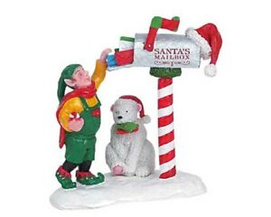 LEMAX VILLAGE CHRISTMAS MAIL ELF WITH POLAR BEAR DELIVERING MAIL NIB