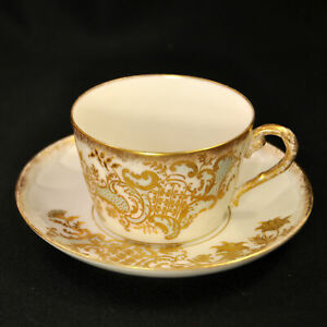 Limoges Pitkin & Brooks Cup Saucer Embossed 1874-1920 Green Floral w/Raised Gold