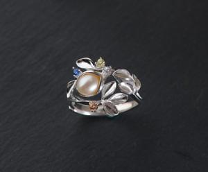 Frank B11 Ring Süßwasser Perle Blüten Blätter Sterling Silber 925 Größenverstellbar Goods Of Every Description Are Available Fine Rings Pearl