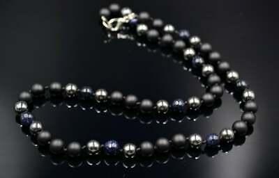 Ordentlich Herren Halskette Necklace Sandstein Onyx Hämatit Geschenk Für Mann 51 Cm