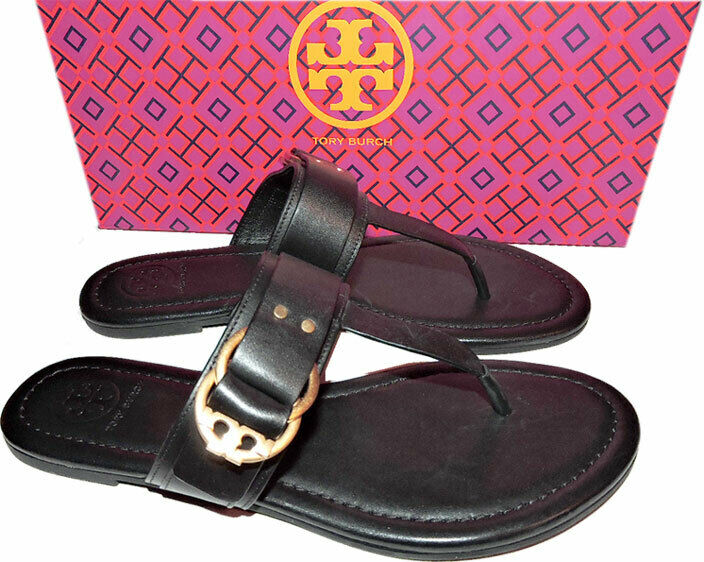 Tory Burch Marsden Flat Thongs Sandals Black Leather shoes Flip Flops 7.5