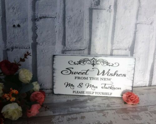 Personalised Sweet Table Sign Shabby Wooden Wedding Sign Free Standing Vintage