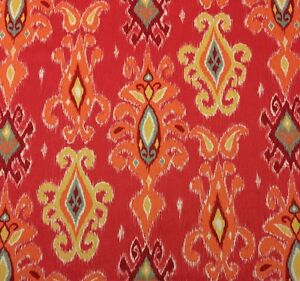 RICHLOOM-SIAM-CORAL-RED-D4169-IKAT-ORANGE-YELLOW-MULTIUSE-FABRIC-BY-YARD-54-034-W