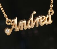 Andrea Name Necklace With Rhinestone Gold Or Silver Tone
