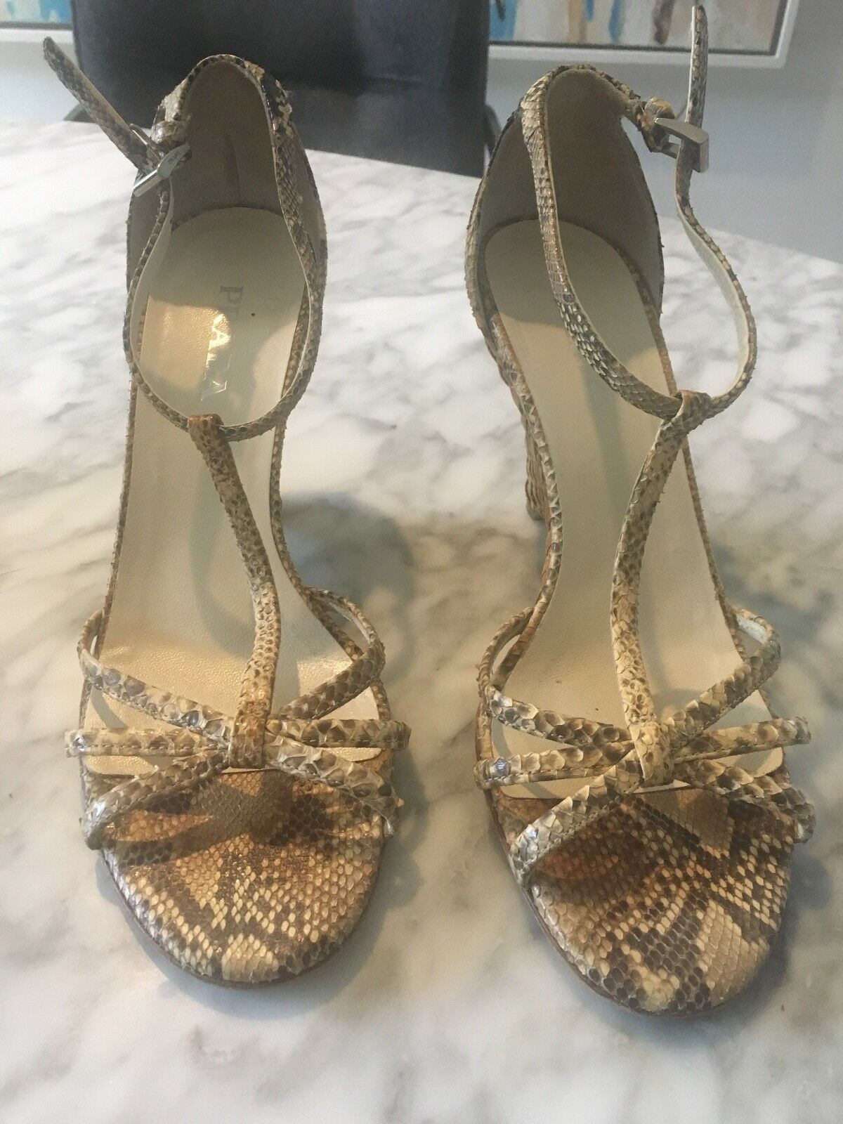 PRADA Python Ankle Strap Wedge High Heel Sandal shoes Size IT 39