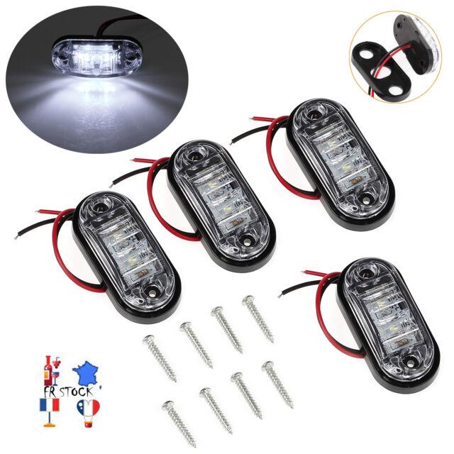 4x Blanc LED feu de position Solde feux Clignotants Remorque Camion 12/24V