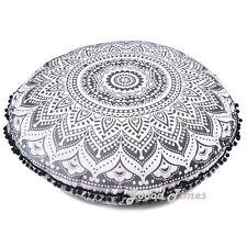 "Black Ombre Decorative Floor Pillow Cushion Cover Mandala- 32"""