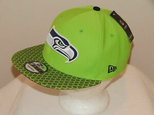 New Era Seattle Seahawks Hat NFL Black on Black 9FIFTY Snapback Adjustable Cap Adult One Size