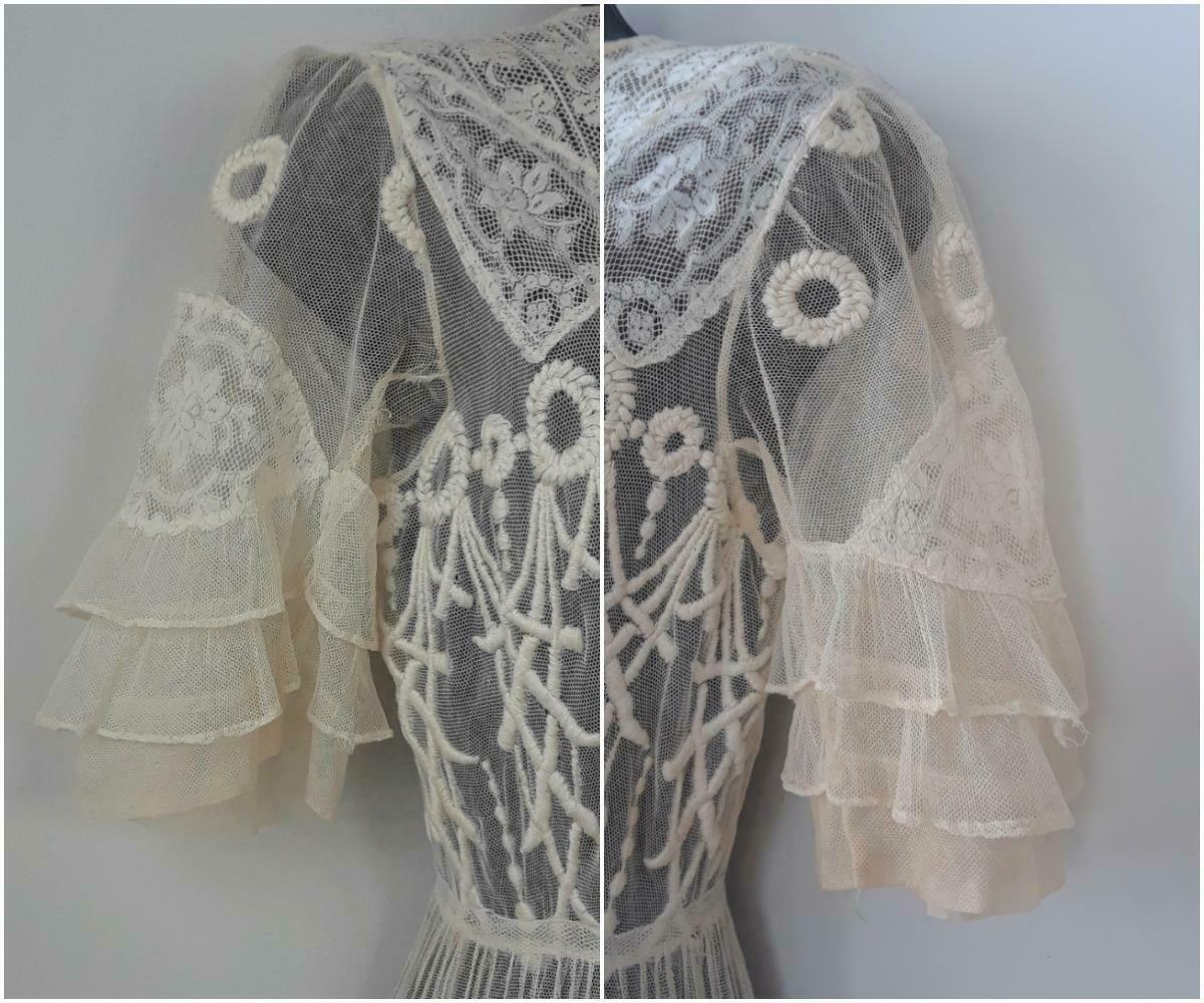Lovely Antique Edwardian Embroidered Cotton Net D… - image 9