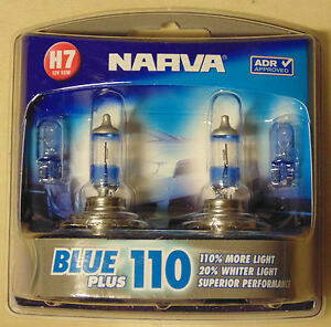 Narva-Blue-Plus110-Halogen-Light-Globe-PAIR-H7-type-for-Toyota-Nissan-Subaru-VW