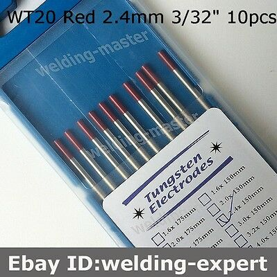 "10 pcs WT20  4//51/""X6/""   3//32/""X6/""  Thorium-Tungsten Electrode Red"