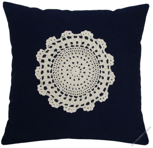 """Navy Blue Doily Decorative Throw Pillow Cover//Cushion Cover//Cotton//20x20/"""""""