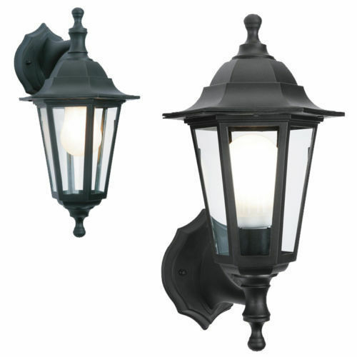 Black Rust Proof Traditional Coach House Wall Garden Outside Lantern Light 2in1
