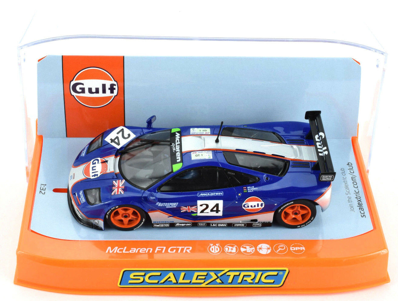Scalextric  Gulf  McLaren F1 GTR -1995 Le Mans DPR W  Lights 1 32 Slot Car C3969