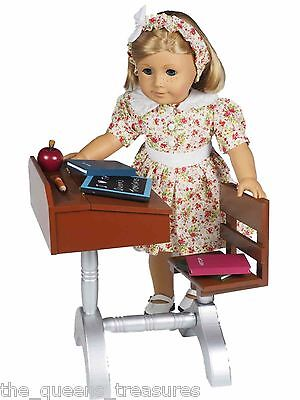 "18"" Doll 1930 Style Wood School Desk Furniture + Accessories Fits American Girl"