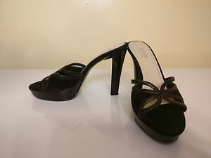 9a70326950a Guess by Marciano Black Leather Suede Sandals Shoes Heels 7.5 M 7 1 ...