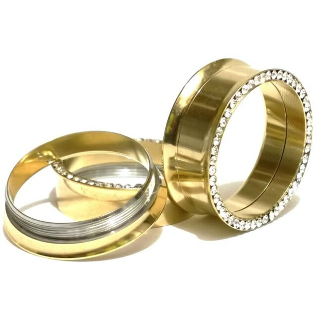 Pair of Screw Fit CZ Gold Plated Flesh Ear Tunnels Plugs Gauges Earlets
