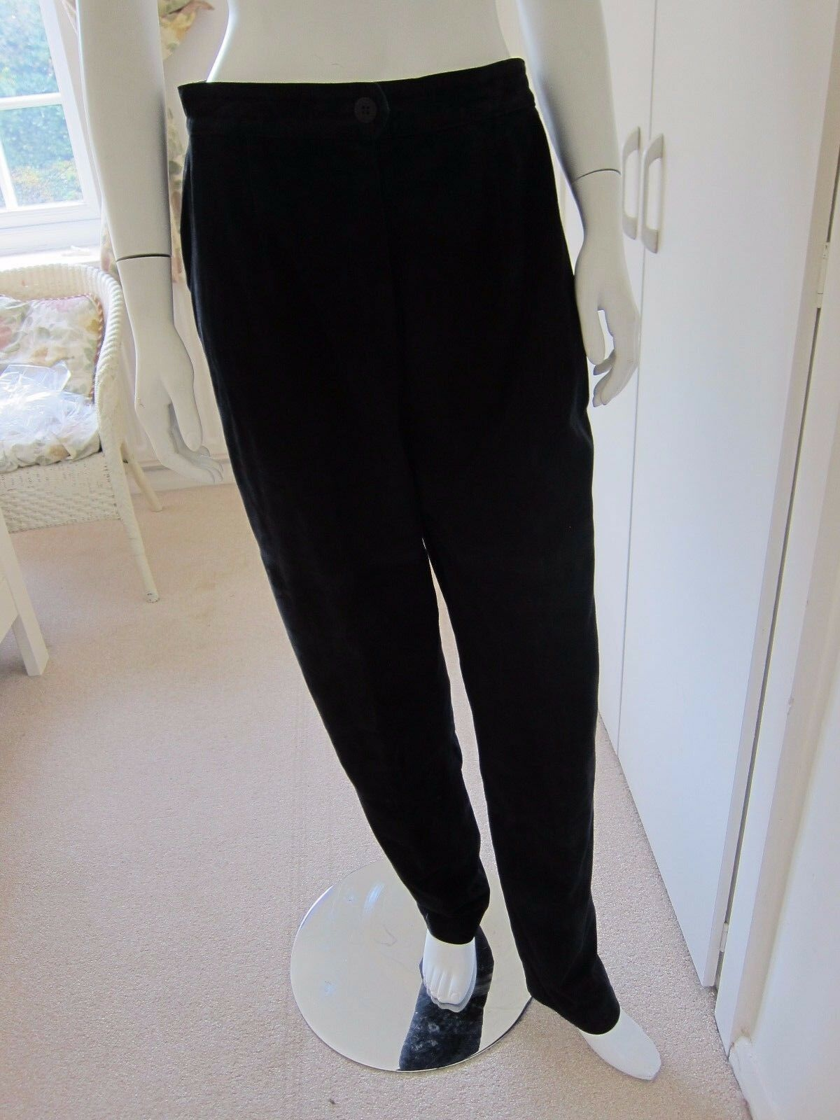Reduced  Louis Féraud butter soft navy lined suede leather trousers