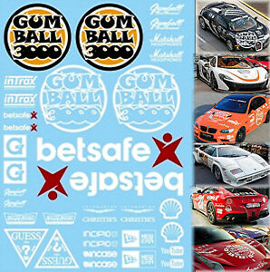 Gumball-3000-Lacs-Decalcos-Blanc-Rue-Course-Blanc-1-18-Autocollant-Decalcomanie