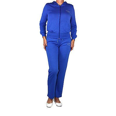 Sportanzug Damen Jogginganzug Sport Lauf Freizeit Anzug Baumwolle blau 33513 Neu
