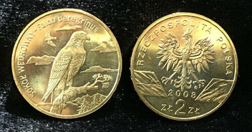"POLAND 2 ZLOTY /""PEREGRINE FALCON/"" 2008 COIN UNC"