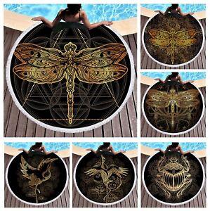BOHO-Ethnic-Gold-Crane-Dragonfly-Beetle-Large-Beach-Towel-Blanket-Spa-Sauna-Bath