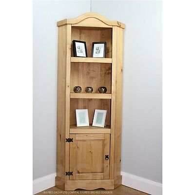 Corona Rustic 3 Shelves Corner Cabinet Unit | Light Fiesta Waxed Solid Pine Wood