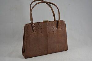 Sac à main en cuir VINTAGE 1960'S ORIGINAL cuir marron 9YInSqBYeu