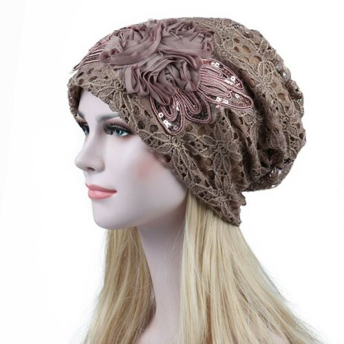 Women India Muslim Stretch Turban Hat Sequins Lace Hair Loss Head Scarf Wrap