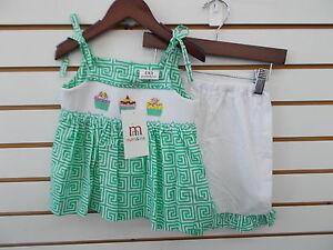 Infant, Toddler, & Girls Mom & Me 2pc Green w/ Cupcakes Smocked Set Size 12m-6X