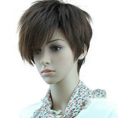100% Real Hair! New Fashion Short Straight Dark Brown Man Women Wig