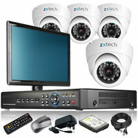 4 X Sony Ccd Camera Full D1 8 Ch Dvr Cctv System Home & Business With Monitor 3g