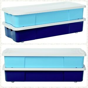 2x Underbed Storage Boxes Wheeled Stackable Toy Box Store Away Kids Clothes Game