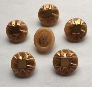 "Vintage Tan & Gold 3/4"" Glass Buttons Button Lot 102-5"